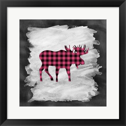 Framed Pink Plaid Moose Print