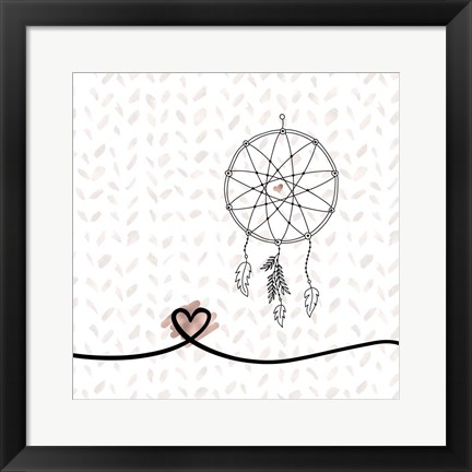 Framed Dream Catcher Hearts and Pattern Print