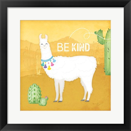 Framed Be Kind Llama Print