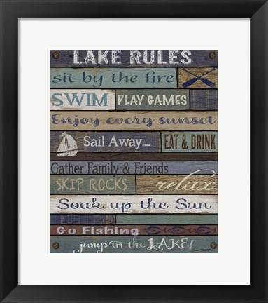Framed Lake Rules On Wood Print