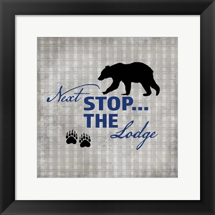 Framed Blue Bear Lodge Sign 2 Print