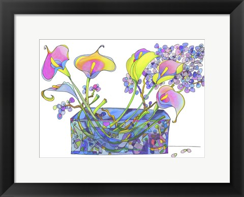 Framed Calla Lilly And Hydrangea Hallucination Print