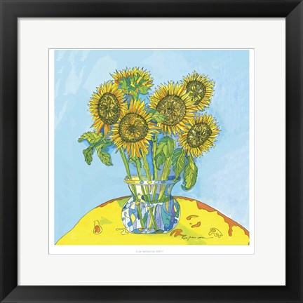 Framed Sunflowers For Matisse Print