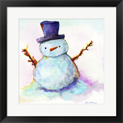 Framed Snowman In Sunset Print