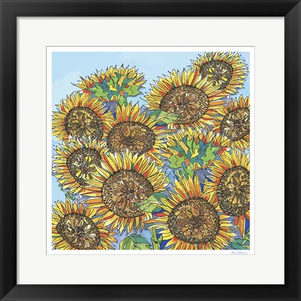Framed Sunflowers Upclose Print