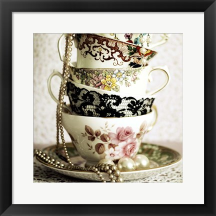 Framed Antique Cups and Saucers with Pearls 1 Print