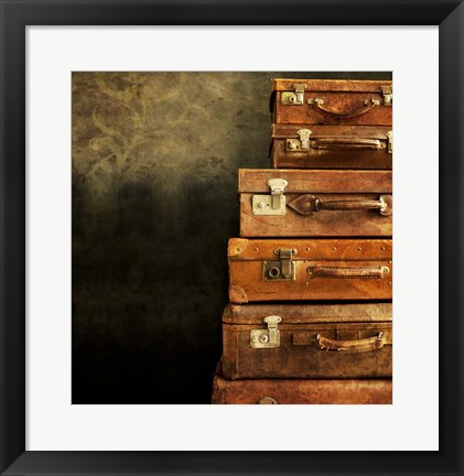 Framed Antique Luggage Suitcases Print