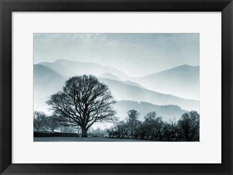 Framed Blue Landscape with Tree Print