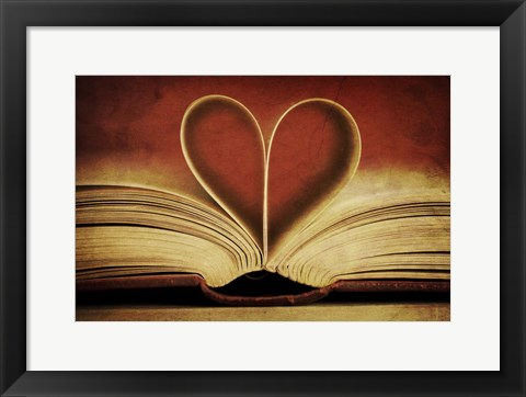 Framed Book Pages in Heart Shape Print