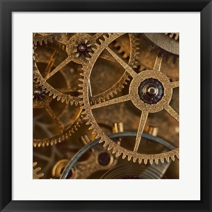 Framed Copper Cogs Close up 1 Print