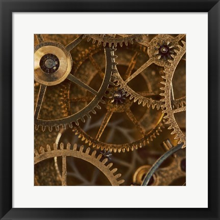 Framed Copper Cogs Close up 2 Print