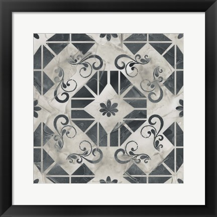 Framed Neutral Tile Collection VI Print
