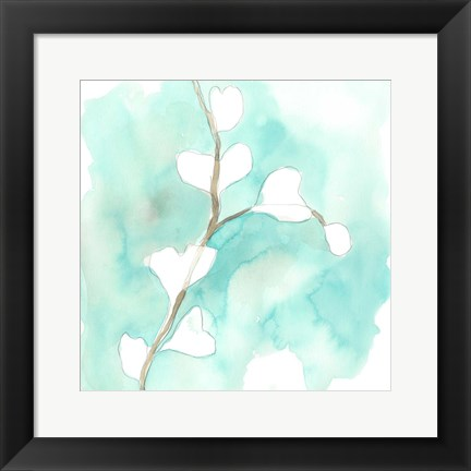 Framed Teal and Ochre Ginko VII Print