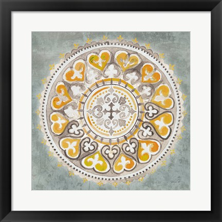 Framed Mandala Delight III Yellow Grey Print