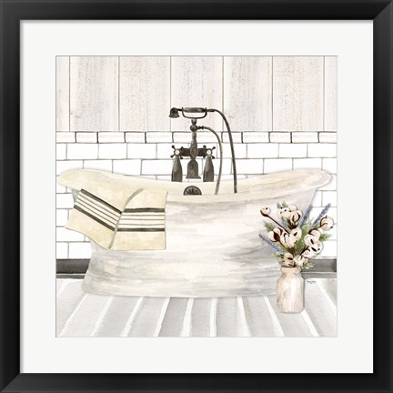 Framed Farmhouse Bath I Tub Print