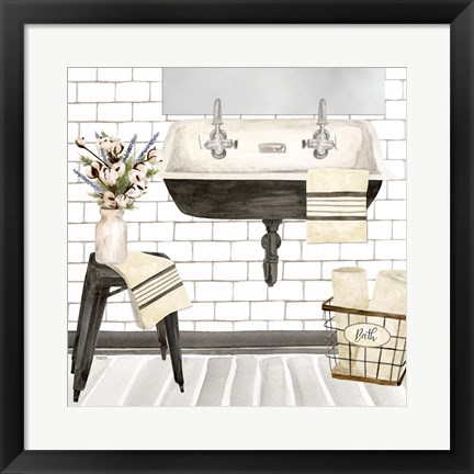 Framed Farmhouse Bath II Sink Print