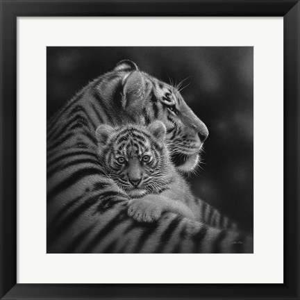 Framed Tiger Mother and Cub - Cherished - B&W Print