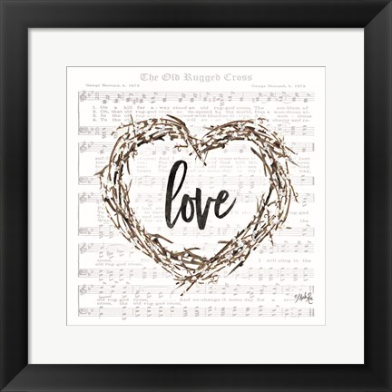 Framed Old Rugged Heart Love Wreath Print