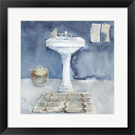 Framed Watercolor Bathroom II Print