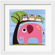 Elephant with Three Owls