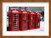 Telephone booths in a row, London, England