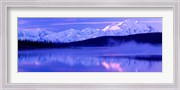 Reflection of snow covered mountains on water, Mt McKinley, Wonder Lake, Denali National Park, Alaska, USA