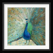 Blue Peacock on Gold