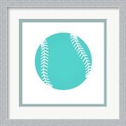 Teal Softball on White