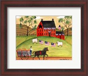 Primitive Americana Sheep with Horse and Wagon
