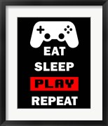 Eat Sleep Game Repeat  - Black and Red