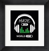 Music On, World Off Headphones Black Background