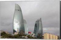 Framed Azerbaijan, Baku The Flame Towers Of Baku