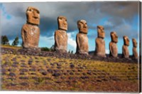 Framed Easter Island, Chile A Row Of Moai Statues