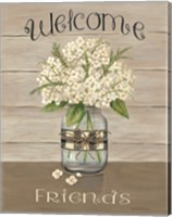 Framed Welcome Friends Mason Jar