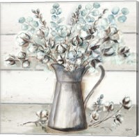 Framed Farmhouse Cotton Tin Pitcher