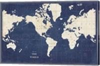 Framed Blueprint World Map - No Border