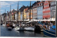 Framed Colorful Buildings, Boats And Canal, Denmark, Copenhagen