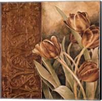 Framed Copper Tulips I