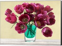 Framed Red Tulips in a Glass Vase