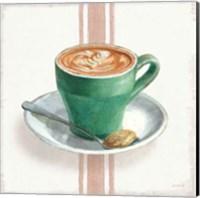 Framed Wake Me Up Coffee II with Stripes