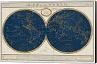 Framed Torkingtons World Map Indigo Globes
