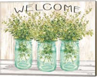Framed Welcome Glass Jars