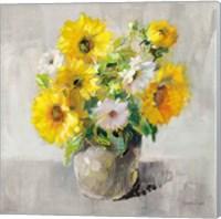 Framed Sunflower Still Life I on Gray