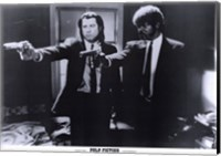 Framed Pulp Fiction Shooting Black and White