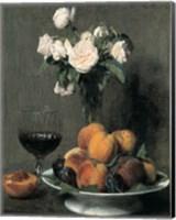Framed Roses Fruits Et Verre De Vin