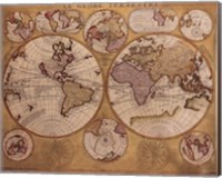 Framed Map - Globe Terrestre