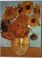 Framed Sunflowers on Blue, c.1888