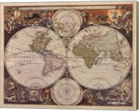 Framed New World Map, 17th Century