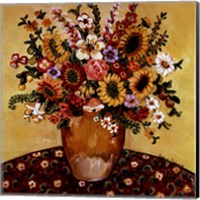 Framed Golden Vase Floral