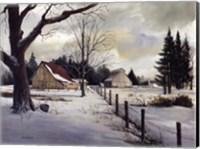 Framed Snow Fields - Winter Barn